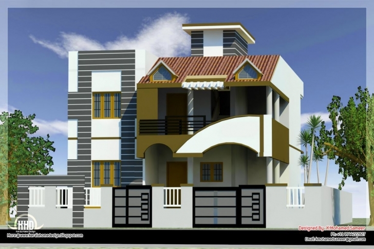 Top Photo of Modern-House-Front-Side-Design-India-Elevation-Design-3D1 (1200 House Elevation Designs Indian Style Picture