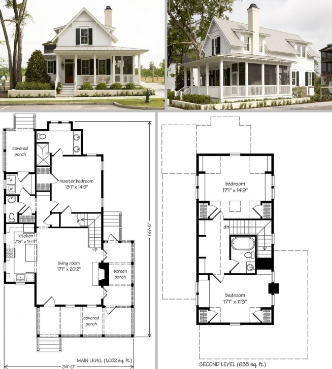 Top Photo of Sugarberry Cottage ~ 1679Sf, 34' X 57', One & Half Story, 3 Bdrm Building Plan On Half Plot Of Land Photo