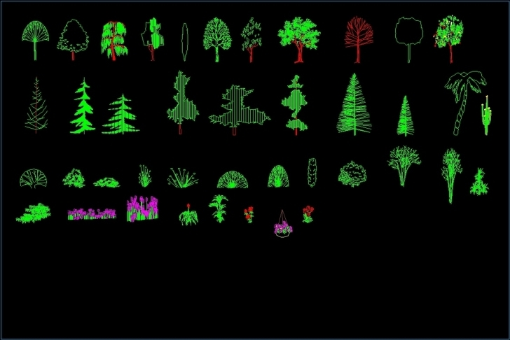 Top Photo of Trees And Plants Elevation 2D Dwg Elevation For Autocad • Designs Cad Autocad 2d Plants Pic