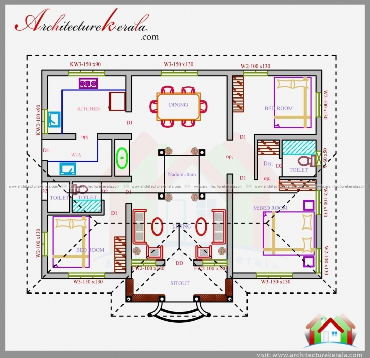 Top Three Bedrooms In 1200 Square Feet Kerala House Plan | House Kerala House Plan Picture