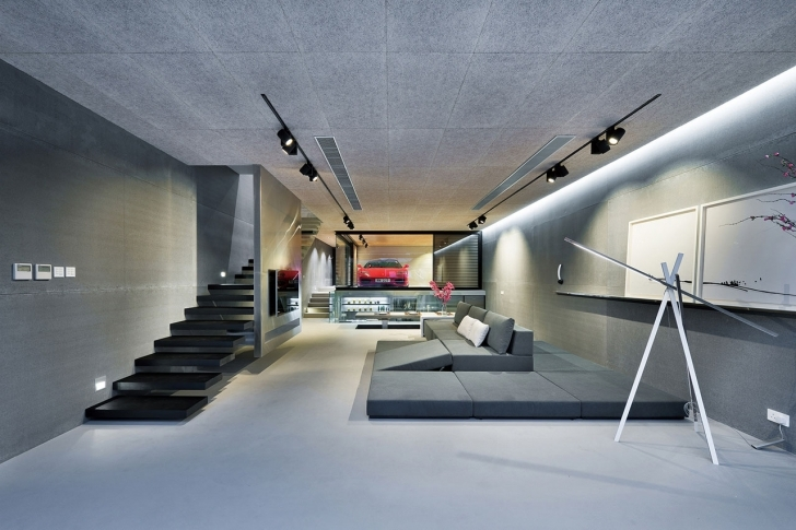 Wonderful An Ultra Modern House In Hong Kong With A Glass-Walled Garage Ultra Modern House Interior Picture