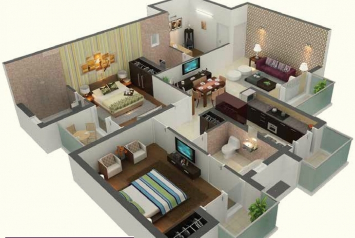 Wonderful Awesome 1000 Sq Ft House Plans 2 Bedroom Indian Style — House Style 2 Bedroom House Plans Indian Style 3d Image